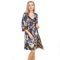 2017 Women Sexy Robe Nightgown Spring Faux Silk Luxurious Ladies Summer Bath 2 Pcs Robe Chemise Set Female Lounge Suit WP322