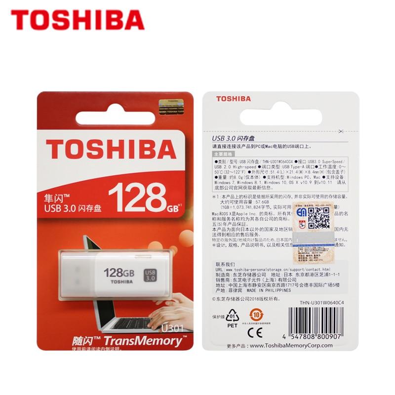 100% Original TOSHIBA U301 USB 3.0 Flash Drive 64GB 32GB Pen Drive Mini Memory Stick Pendrive U Disk White Thumb Flash Disk 5
