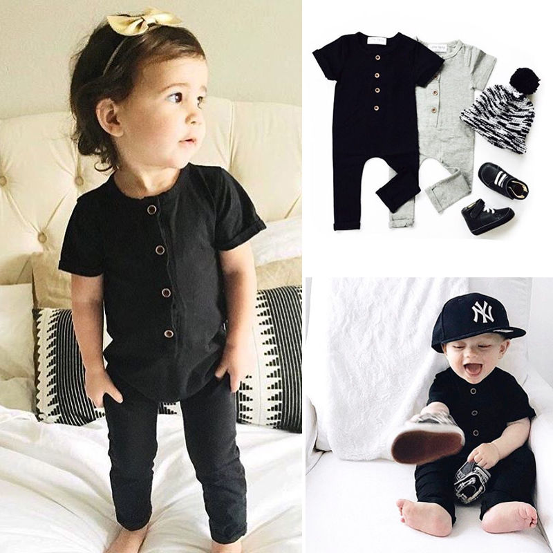 Pudcoco Cotton Newborn Baby Boy Girl Romper Short Sleeve Solid Color Button One Piece Jumpsuit Clothes 0-24M