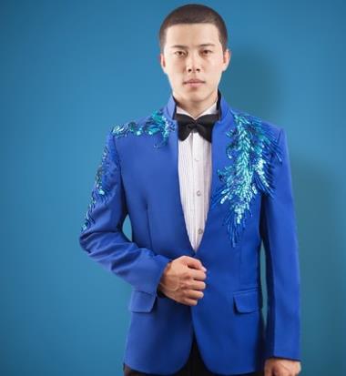 Sequins Blazer Men Formal Dress Latest Coat Pant Designs Suit Men Costume Stand Collar Marriage Wedding Suits For Men's Blue