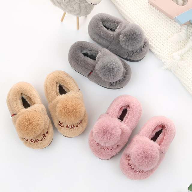 2018 winter kids shoes Keep warm foot flat cute girls home slippers outdoor Snow boots Super soft and comfortable 1-14 years old Girl's Shoes