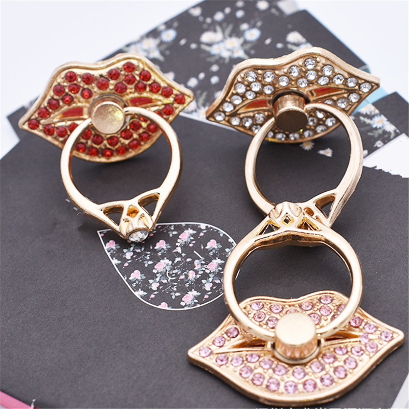 UVR Red Lips Mobile Phone Stand Holder Metal Diamond Finger Ring Smartphone Holder Stand For IPhone Xiaomi Huawei All Phone