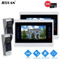 JERUAN 720P 10 INCH Video Door Phone Unlock Intercom System 2 Record Monitor +2 HD COMS 1.0MP Camera With Motion Detection 2V2