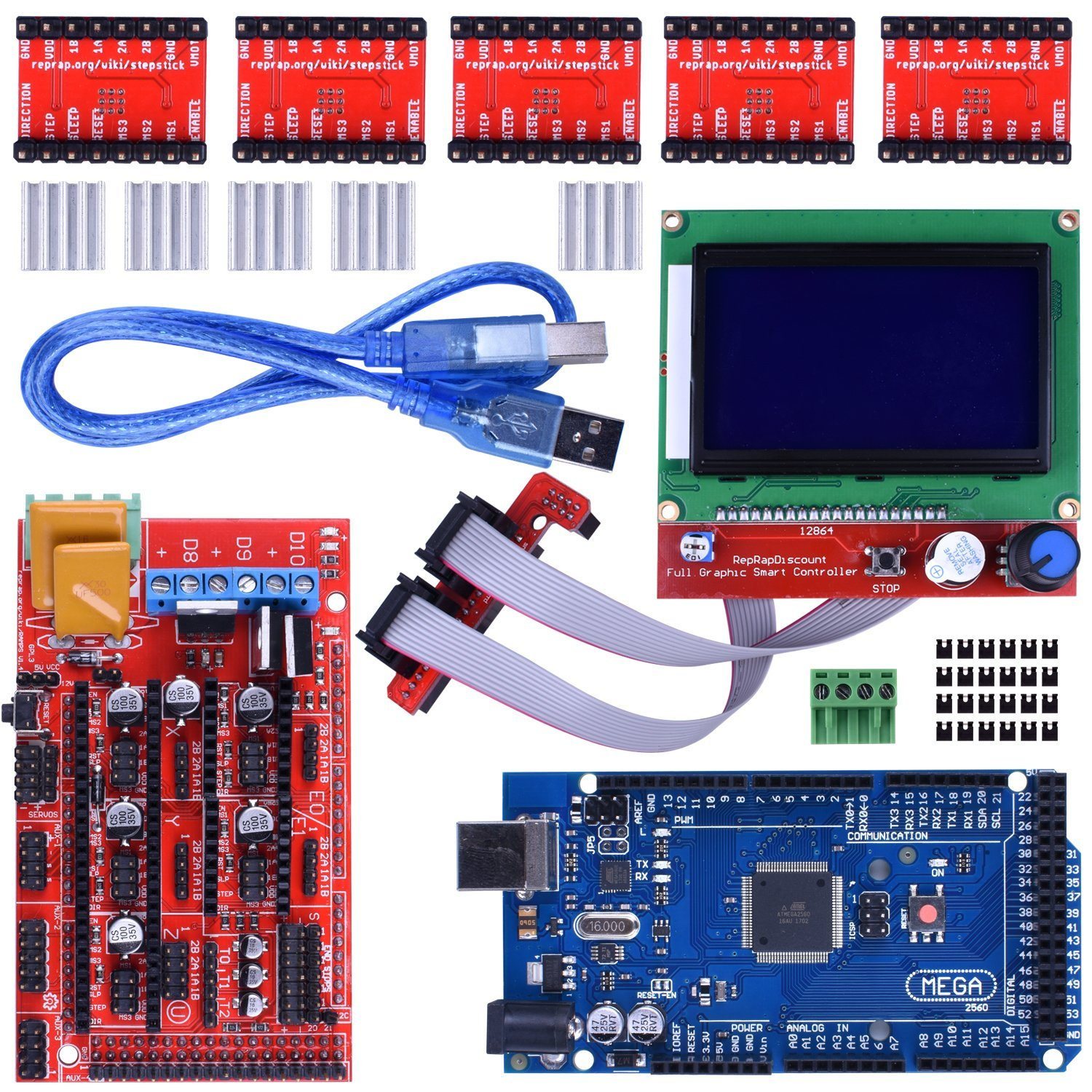 3D Printer Controller Kit + Mega2560 Uno R3 Starter Kits + Ramps 1.4 Upgraded Mosfet + 5pcs A4988 Stepper Motor Driver +LCD12864 soaringe e00316 3d printer kit mega2560 board ramp 1 4 extend shield 4 a4988 stepper drivers