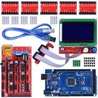 Stampante 3D Kit del Controller + Mega2560 Uno R3 Starter Kit + rampe 1.4 Aggiornato Mosfet + 5 pz A4988 Driver Del Motore Passo-passo + LCD12864