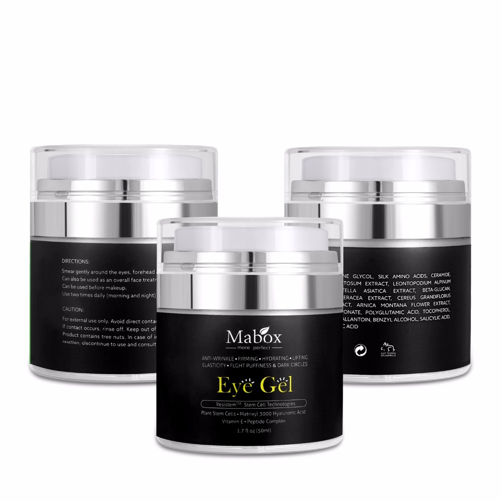 Mabox Natural Eye Gel for Appearance of Dark Circles, Puffiness, Wrinkles and Bags-for Under and Around Eyes Eye gel essence gel recette merveilleuse ultra eye contour gel by stendhal for women 0 5 oz gel