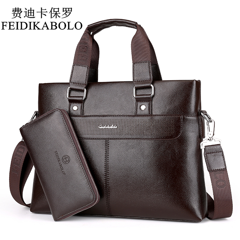 купить FEIDIKABOLO Fashion Men PU Leather Crossbady Bag Men Handbags Male Designer Business Briefcase 14 inch Laptop Bag Shoulder Bags недорого