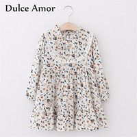 Dulce Amor Girls Dress Baby Girl Clothes Spring Long Sleeve Floral Print Kids Dresses For Girls