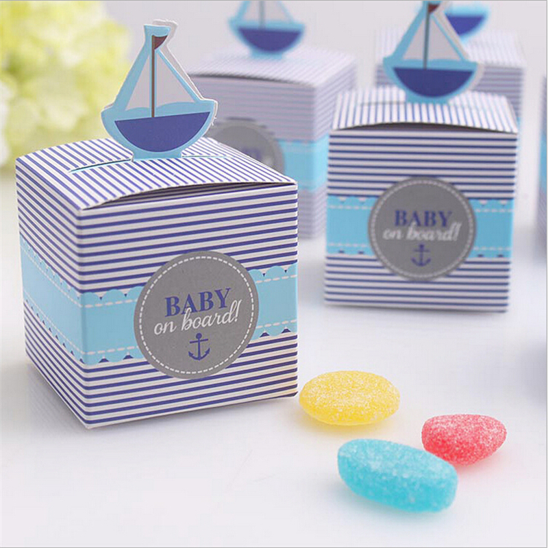 Free Shipping 100pcs Baby Sailboat Birthday Party Decorations Kids Favor Boxes Candy Box Shower Decoration