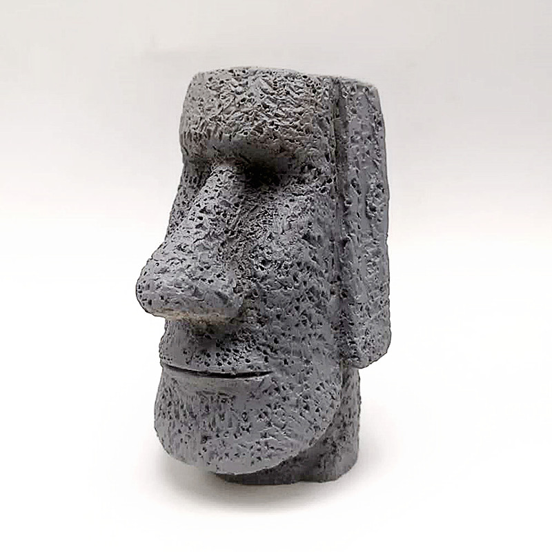 Silicone Mold Easter Island Stone Statue Used In Concrete Making Model Candle Soap Plaster Mold Interior Decoration Tool