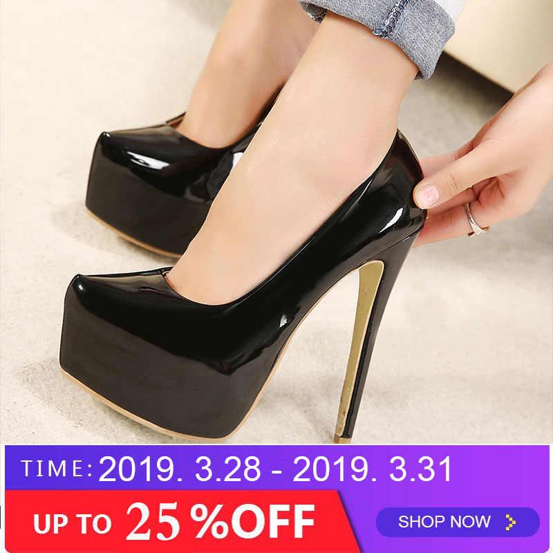 71bd607c9b21 Big Size 35-44 brand women Super High Heels 15cm shoes platform shoes pumps  Wedding