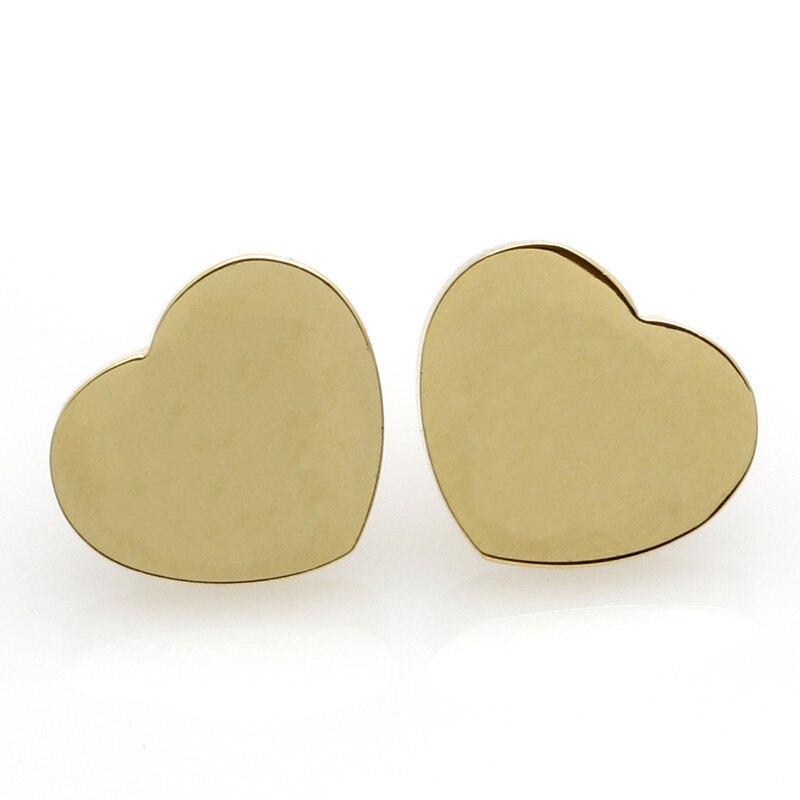 Sparkling Love Heart Earrings Gold Color Stud Earrings Stainless Steel Fashion Statement Earrings For WomenRX096