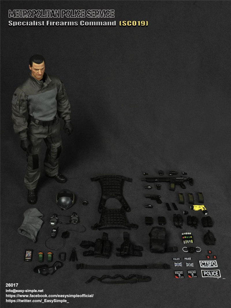 For Collection 1:6 SCO19 Man Action Figure Full Set Easy Simple ES 26017 British Special Police  Figure doll Toy full set 1