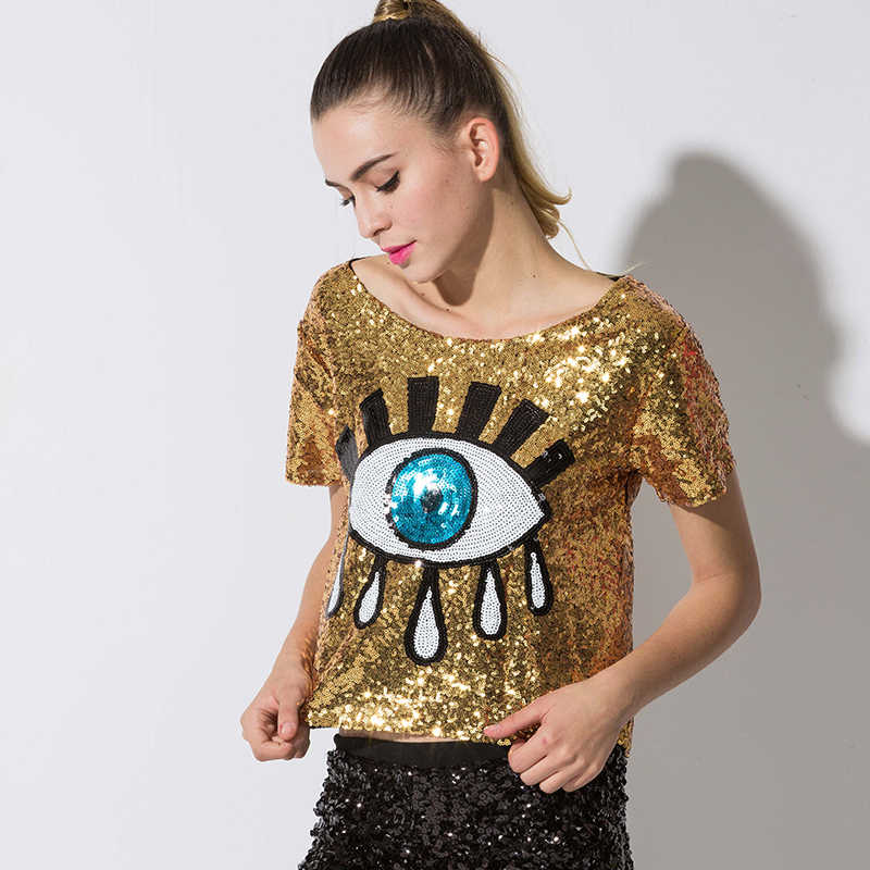 2be3f4dff ... 2018 New Crop Tops Loose Short Tops Sequins Big Eyes Sexy Sequined  Casual Tops Pole Dance ...