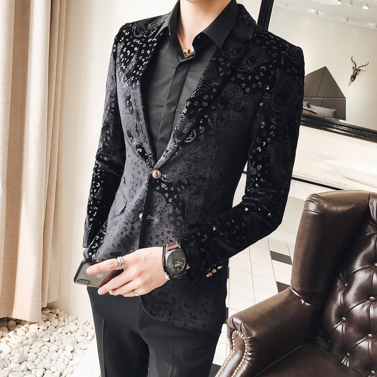 Black Velvet Blazer Men Male Suit  Jacket Casual  Business Flower Pattern Luxury Stylish Blazers For Men Party Wedding Blazer