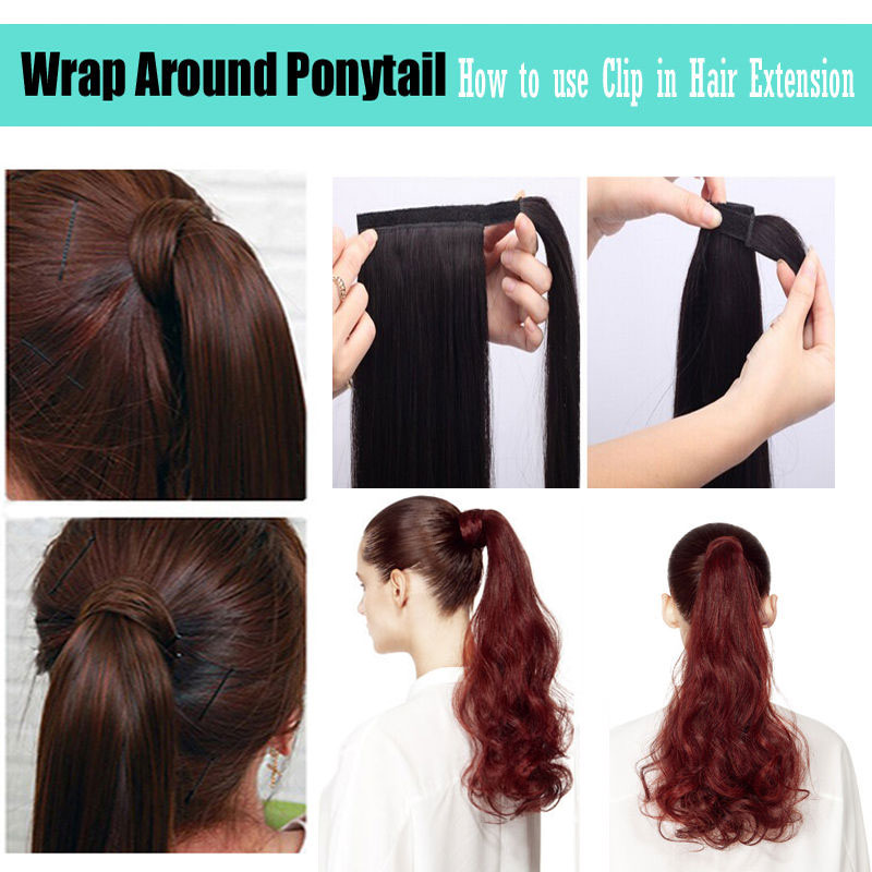 S Noilite 24 Long Straight Synthetic Ponytail Wrap Around Clip In