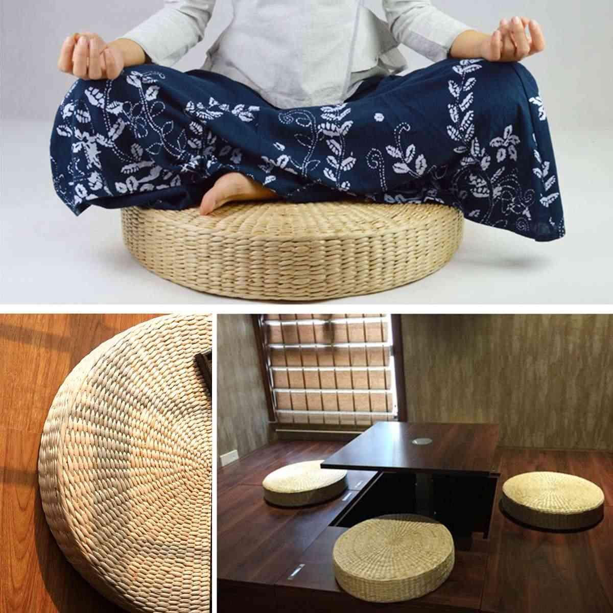 40x7.5 cm 자연 짚 직조 라운드 pouf 다다미 쿠션 바닥 쿠션 명상 요가 라운드 매트 홈 침실 의자 쿠션