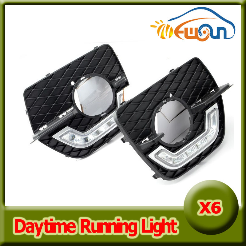 2X 6 LED Car Daytime Running Light DRL Daylight Lamp dimmable with Turn Lights for BMW E71/X6 2008-2012 Driving fog lamp teak house тумба для ванной mimizan 80