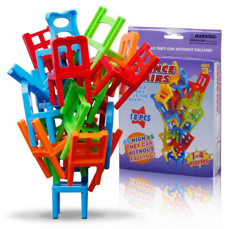 18pcs/set Board Game Stacking DIY Adult Parent-child Interactive Kids Chairs Toy Balance Game