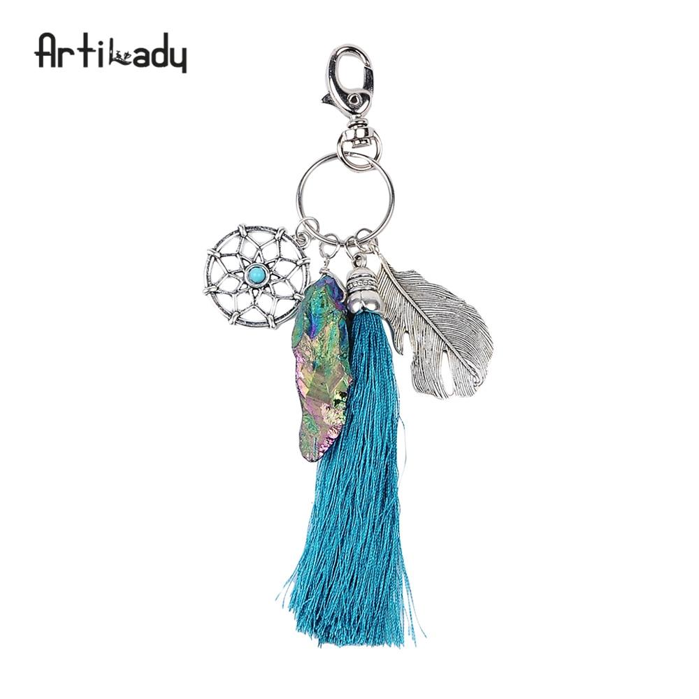 Artilady натуральный камень кисточка Брелок старинные серебряные украшения Бохо Ловец снов брелок для женщин 2017 Весна дропшиппинг