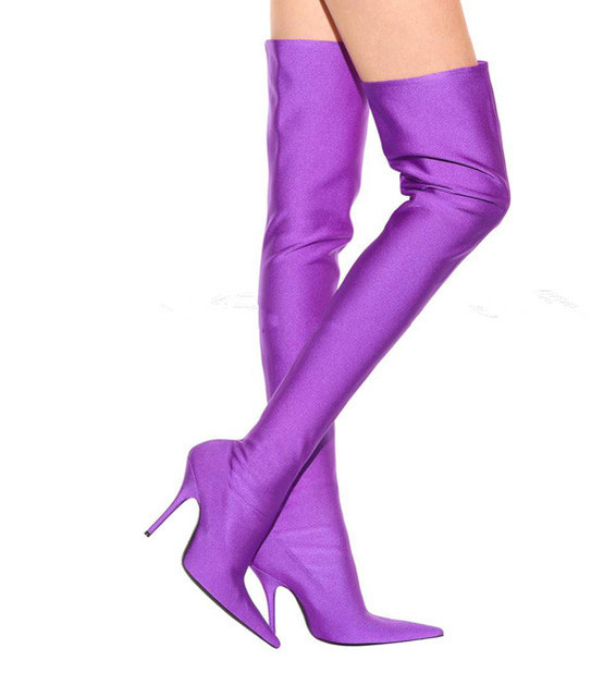 Fashion Runway Stretchy Sock Boots Pointy Toe Stiletto Heel Thigh High Boots Shoes Woman Stain Crotch Slip-on Over The Knee Boot