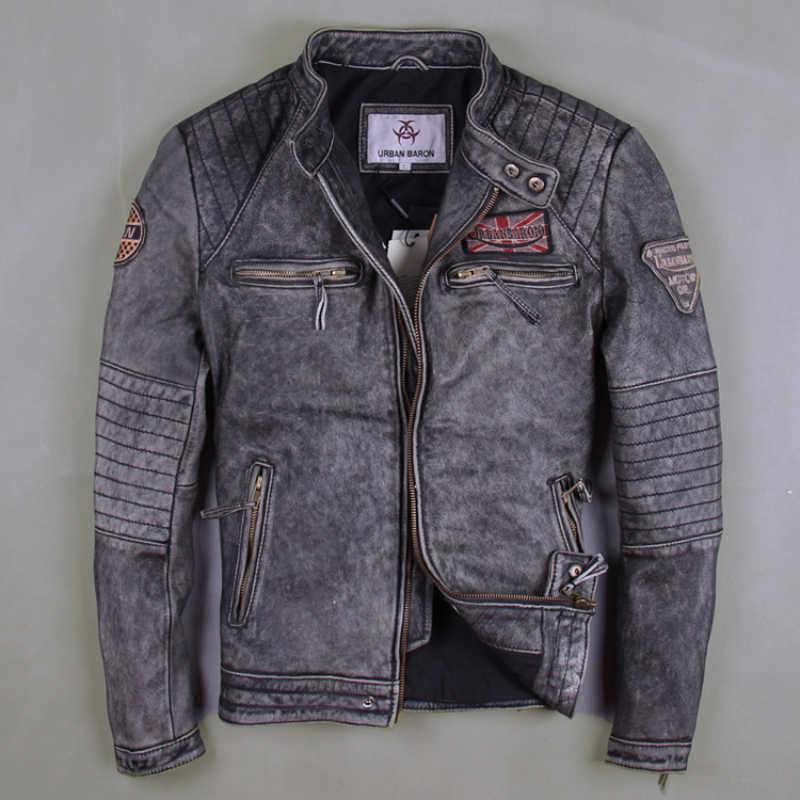 f8af04b05ae Мужские Винтажные серые мотоциклетные Кожаные Куртки из натуральной кожи  Cowshin Китай Размер M-6XL байкерские