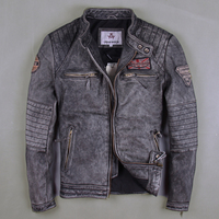 Factory 2019 Men Vintage Gray Motorcycle Leather Jackets Genuine Cowshin China Size M 6XL Biker Jackets Winter Coats