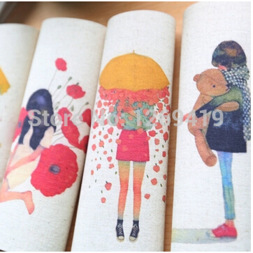 7 unids/lote, 20 * 20 CM de la muchacha de flor teñidos a mano de algodón tela d