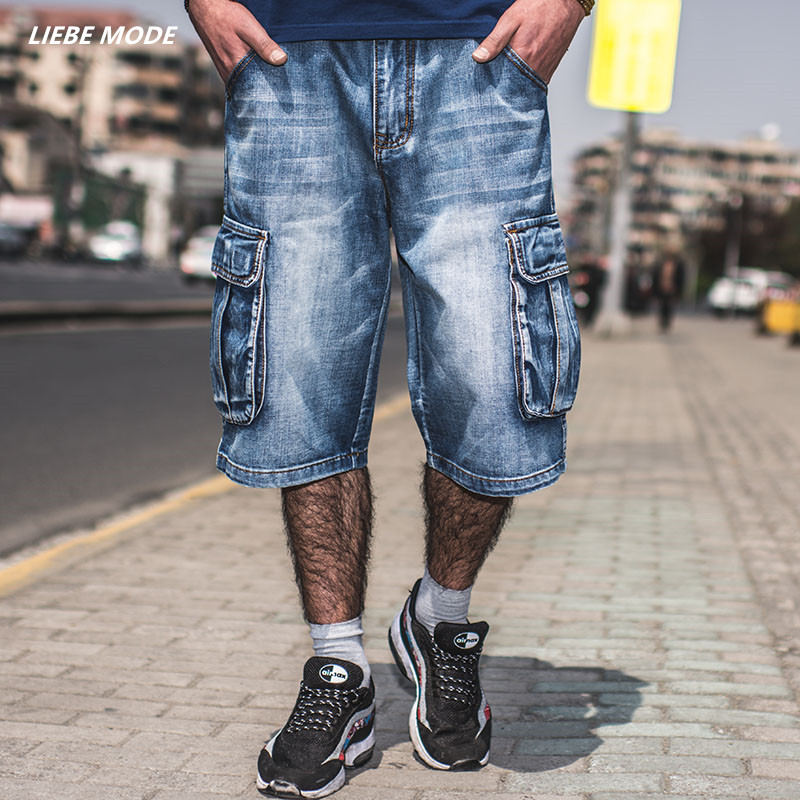 Men Fashion Baggy Cargo Jean Shorts Mens Mult Pockets Boardshorts Shorts Denim Overall Breeches Loose Shorts Jeans For Men chic mult color trimmed beach shorts