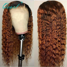Lace Front Wig 13x6 Deep Side Parting 1B/30 Ombre Blonde Peruvian Curly Remy Hair Human Hair Colored Wigs Preplucked Qearl side parting fluffy long curly synthetic wig