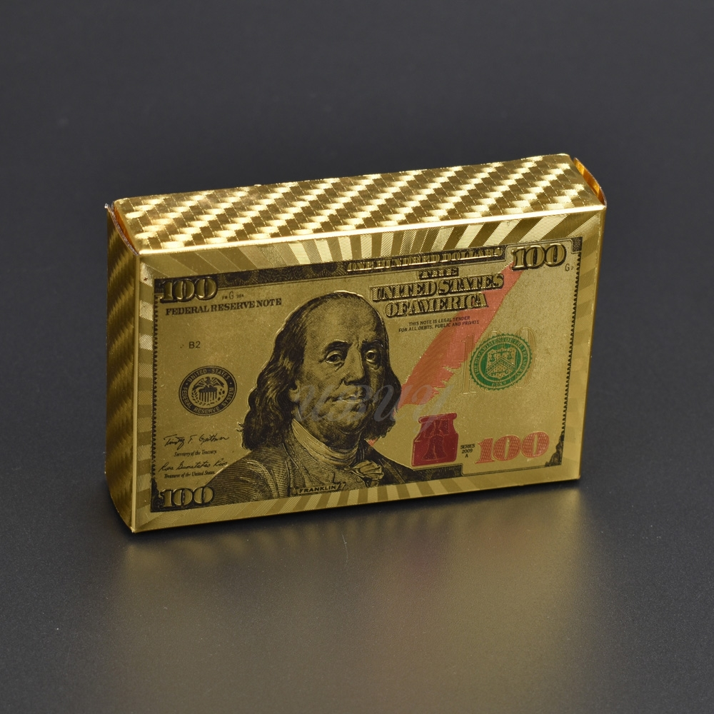 Colorful USA Design 100 Dollar Gold Playing Cards Plastic For Collection Gift