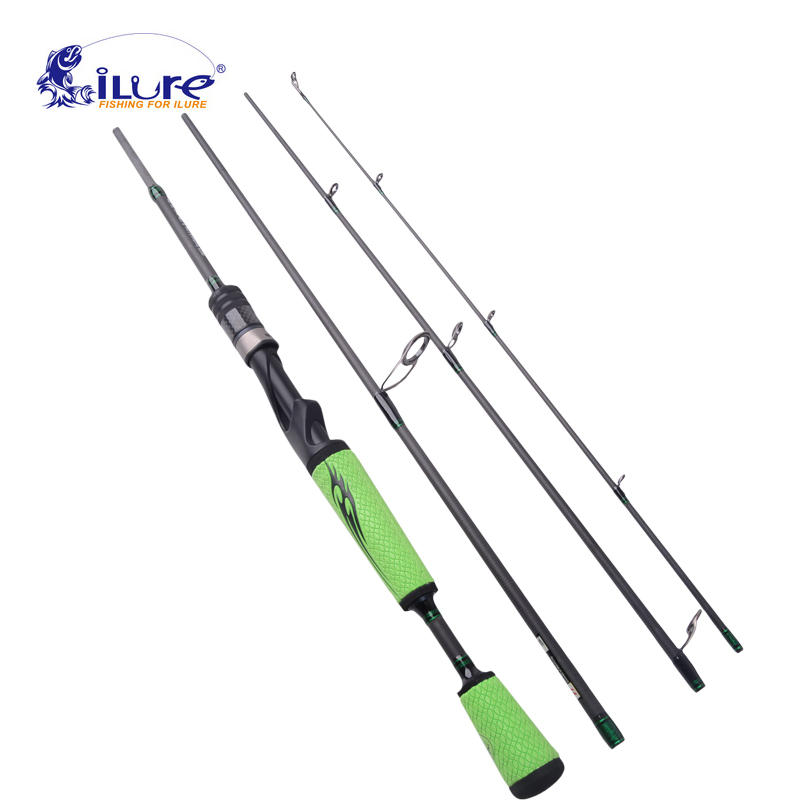 iLure High Quanlity 1.98m 4 Section Medium Action Carbon Rod Casting Spinning Fishing Rod 10 18g Lure Weight 6 12LB Line Weight