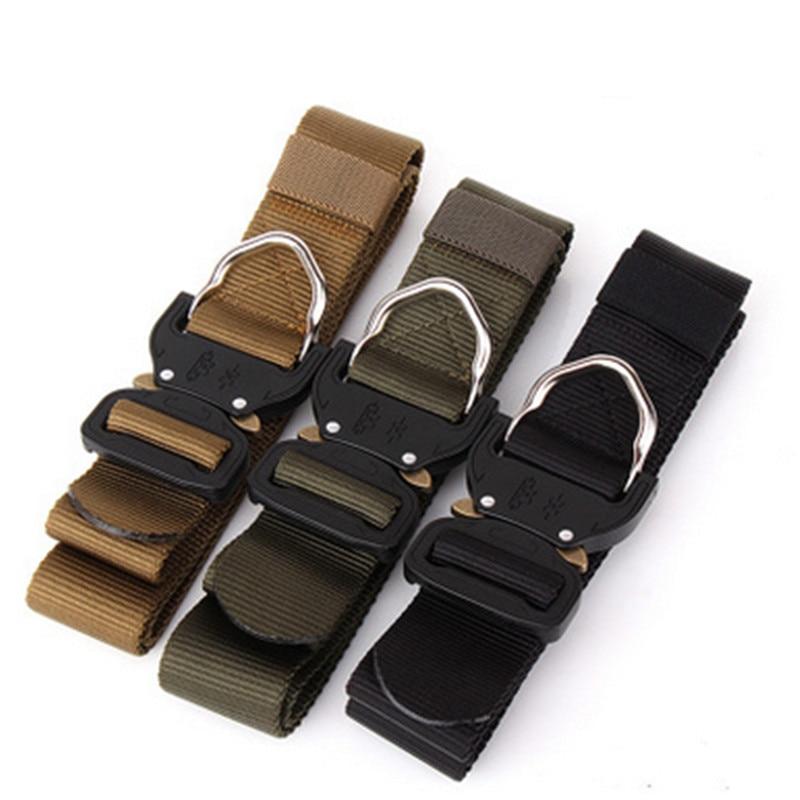 Military Equipment Tactical Belt Men Nylon Metal Insert Buckle Knock Off Belts Outdoor Male US Army Soldier Carry Waist Belt Man