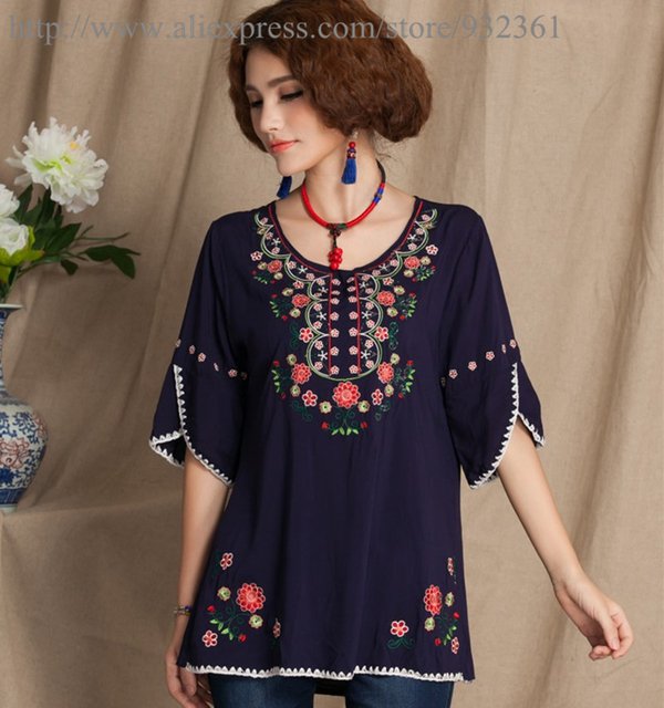 Vintage Mexico Ethnic Embroidery BOHO Women Blouses Blouse Shirt Women Tops  Soft Cotton Shirts ropa mujer Blusas femininas blusa ff1f37a41415