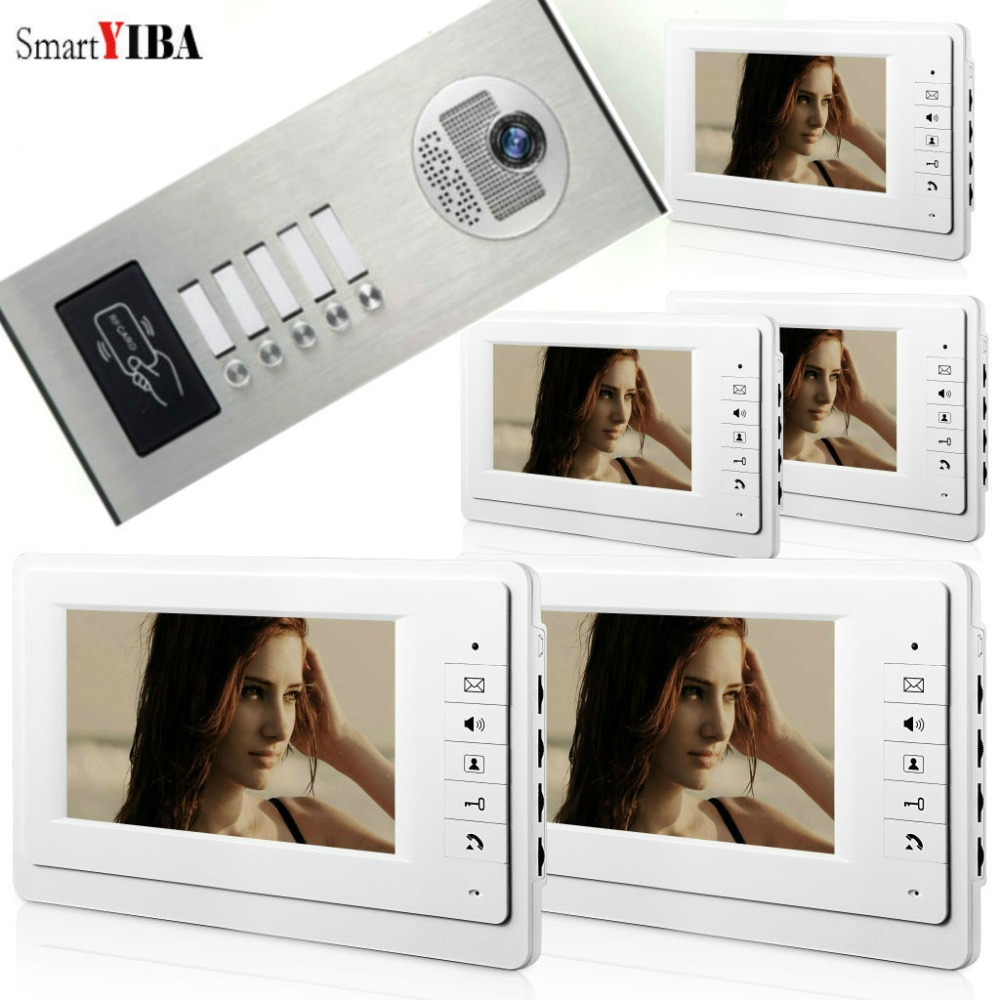 SmartYIBA 7LCD Video Door Phone Intercom System IR HD 1000TVL Camera RFID Keyfobs Unlock Handfree intercom For Multi-ApartmentSmartYIBA 7LCD Video Door Phone Intercom System IR HD 1000TVL Camera RFID Keyfobs Unlock Handfree intercom For Multi-Apartment