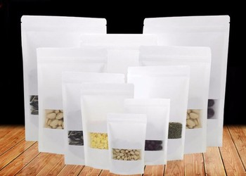 50pcs/lot White Kraft Paper Bag With Window Stand Up Zipper/zip Lock Jewelry Packaging Bag Paper Bags For Gifts/tea/christmas 50pcs lot 9x14cm brown stand up grip seal craft paper dried food nuts snacks package bag zip lock kraft paper clear window bag