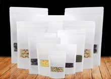50pcs/lot White kraft paper bag with window stand up Zipper/zip lock Jewelry packaging bags for gifts/tea/christmas