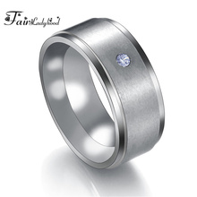 FairLadyHood 2019 New Arrival Never Fade Ring 8mm 316L Stainless Steel CZ Stone Band Ring For Men & Women Gift Jewelry Bijoux стоимость