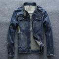 Primavera Nuevas Llegadas Mens Vintage Ripped Denim Motocicleta Chaqueta de Los Hombres de Moda Slim Fit Diseñador Cremallera Jeans Chaquetas Y Abrigos