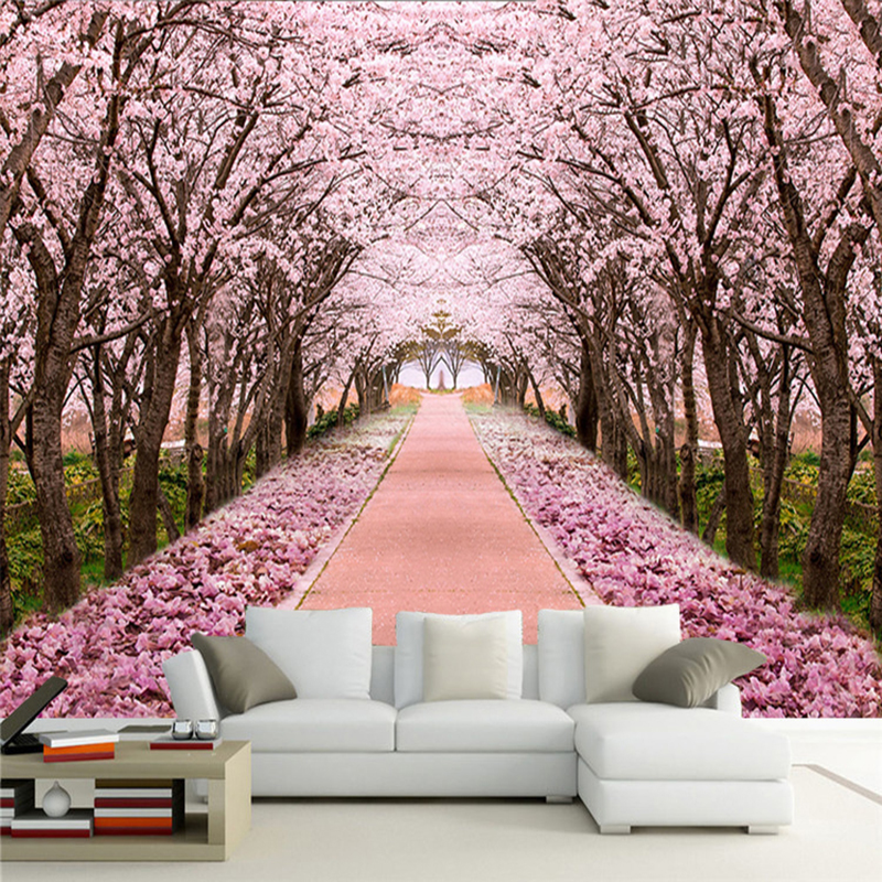Custom Photo Wallpaper 3D Romantic Cherry Blossom Tree Mural Living Room TV Sofa Background Wall Painting Fresco Papel De Parede
