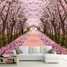 Custom Photo Wallpaper 3D Romantic Cherry Blossom Tree Mural Living Room TV Sofa Background Wall Painting Fresco Papel De Parede large papel space mural sun scenery 3d wallpaper mural for living room sofa background 3d wall photo mural 3d wall stickers