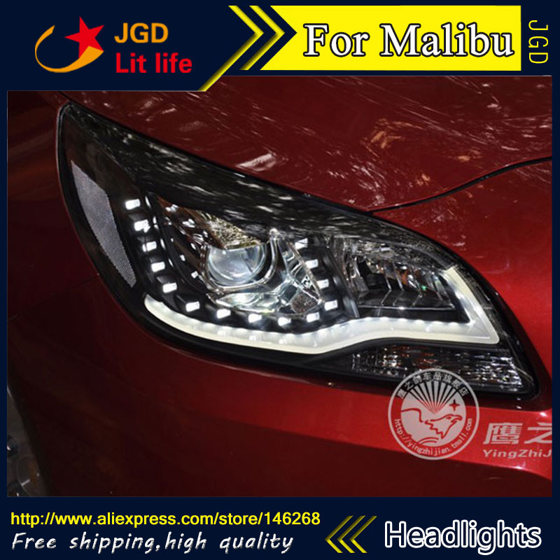 Free shipping ! Car styling LED HID Rio LED headlights Head Lamp case for Chevrolet Malibu Bi-Xenon Lens low beam  free shipping car styling led hid rio led headlights head lamp case for chevrolet camaro bi xenon lens low beam