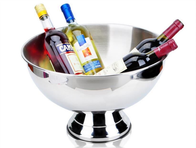 Livraison gratuite épaississement acier inoxydable grande taille bassin champagne seau de seau à glace champagne seau à glace fête nourriture salade bol