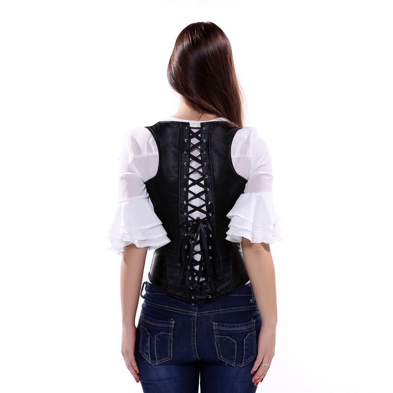 Image 2 - Caudatus Sexy Black Lace Up Satin Steel Boned Underbust Waist Cincher Vest with Straps Corset Underbust Shaper Plus Sizesteel boneunderbust vestunderbust corset vest -