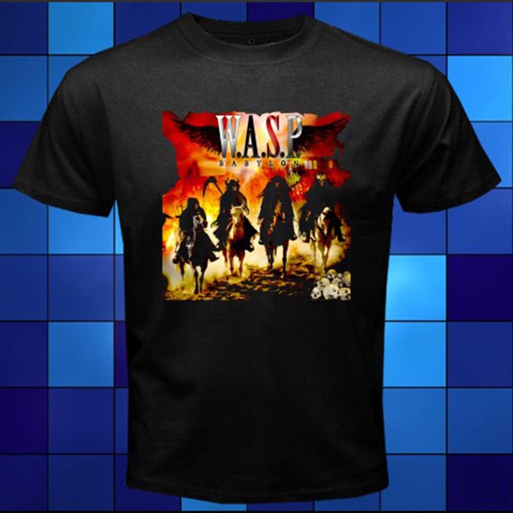 Quality Shirts New Style New WASP W.A.S.P. Babylon Metal Rock Band Black T-Shirt Size S M L XL 2XL 3XL 100% Cotton Top Tees