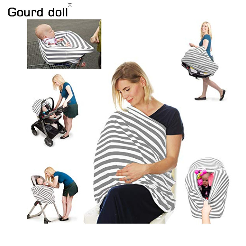 Baby Car Seat Cover Canopy Nursing Cover Multi-Use Stretchy Infinity Scarf Breastfeeding Shopping Cart Cover High Chair Covers