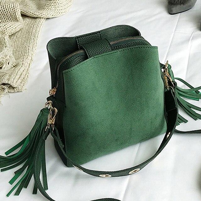 Fashion Scrub Women Bucket Bag Vintage Tassel Messenger Bag High Quality Retro Shoulder Bag Simple Crossbody Bag Tote