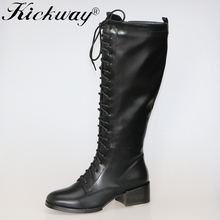 Kickway Plus size 34-44 Autumn Winter new boots fashion sexy lady shoes med heel knee high boots women's long motorcycle boots(China)
