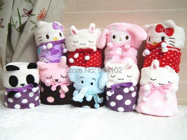2014 recién llegado Baby & kids Polka Dot manta de empalme de dibujos animados mantas Coral fleece blanket hello kitty