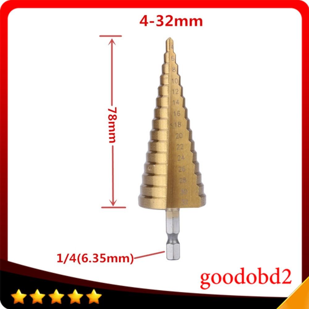 Newest Sheet Metal Hex Titanium Step Core Drill Bit Hole Cutter 4-32MM HSS 4241 Metric Spiral Flute Step HSS Steel 4241 Cone